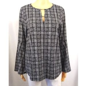 Michael Kors black white geometric tunic blouse S